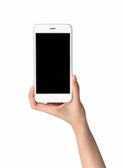 흰색 배경에 격리된 빈 화면의 스마트폰 모형을 손에 들고 있습니다. 광고에 넣어 화면을 가져 가라.