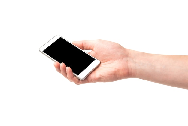 白い背景で隔離の黒い画面とスマートフォンを持っている手