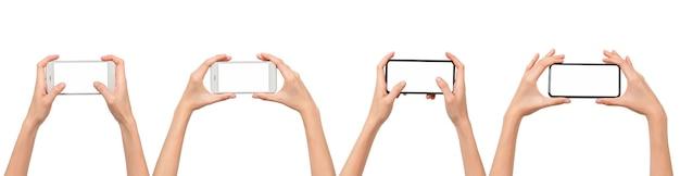 빈 화면이 있는 스마트폰을 들고 있는 손, 응용 프로그램 모바일용 모형, 클리핑 패스가 있는 현대적인 디자인.