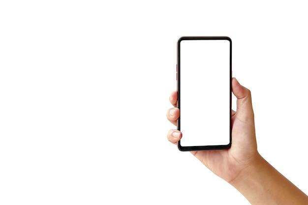 Рука смартфон с пустым экраном на белом фоне.