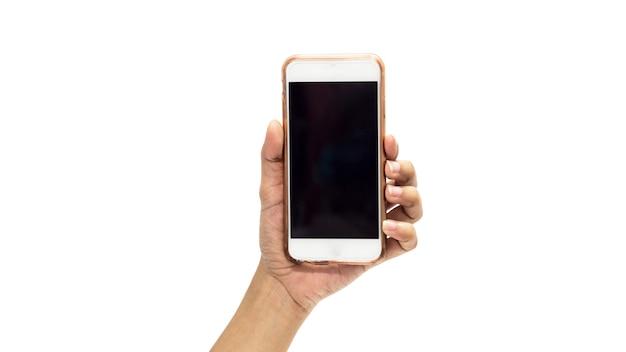 흰색 배경 위에 금이 화면 스마트 폰 들고 손