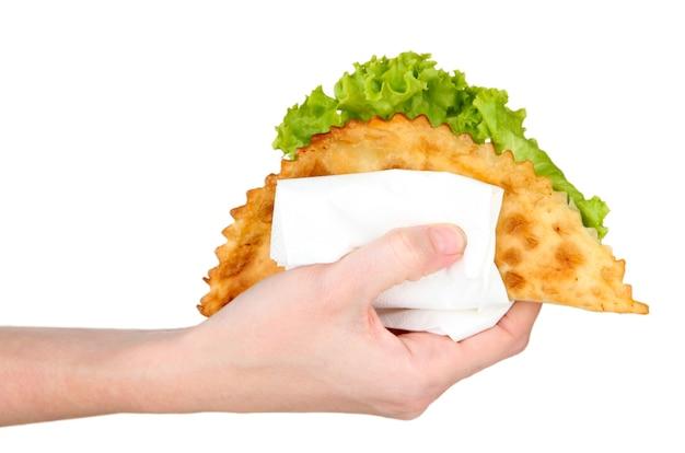손을 잡고 맛있는 cheburek, 흰색 절연