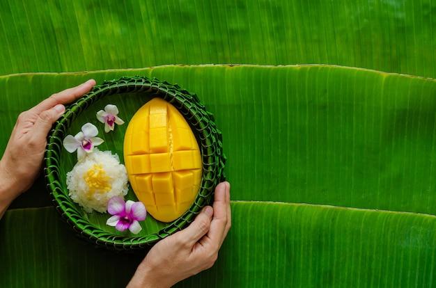 Рука держит тайский десерт - липкий рис с манго, который кладут на пластину из банановых листьев.