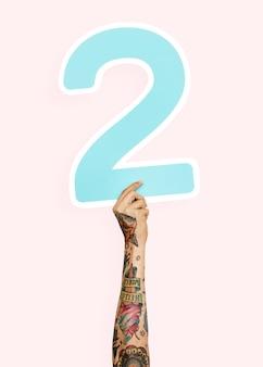 番号2を手にした手