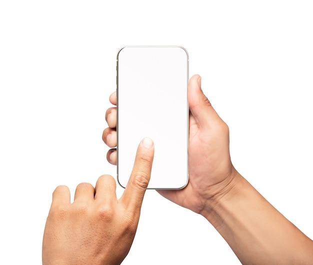 空白の画面とモダンなフレームレスデザインのスマートフォンを持っている手-白い背景で隔離