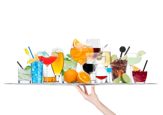 Hand holding tray with various cocktails isolated on white background.blue lagoon, martini, negroni, mojito, spritz, gimlet, cuba libre, cosmopolitan, margarita.