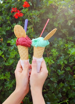 Hand holding two ice cream on background with flowers and leafs