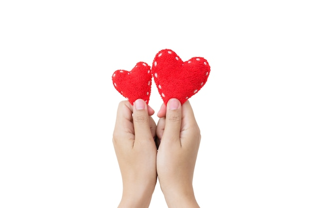 Hand holding two red hearts on white background. love, valentines day concept.