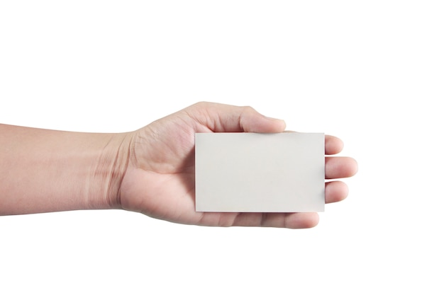 Hand holding  virtual card with your  on white