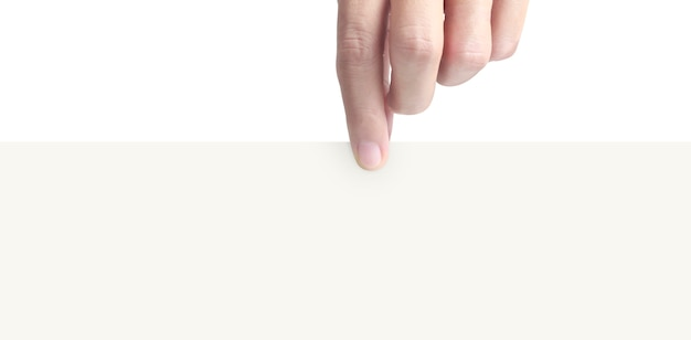 Hand holding virtual a paper