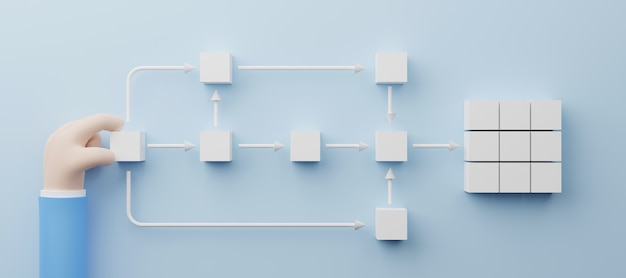 Hand holding white cube arranging processing management 3d render