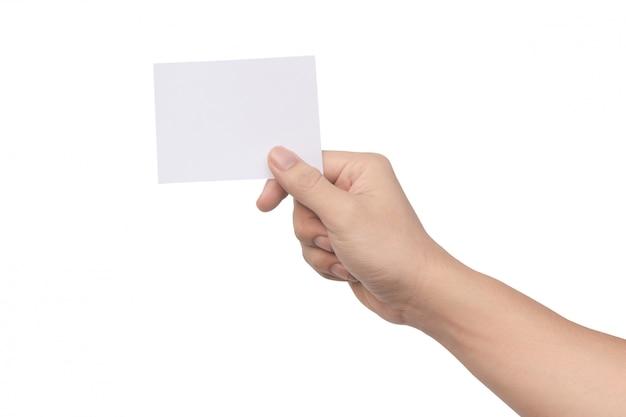 クリッピングパスを白で隔離されるホワイトペーパーを持っている手