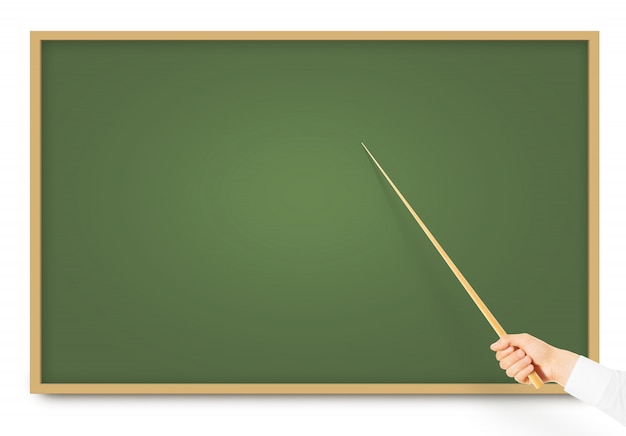 Hand holding wood pointer near blackboard