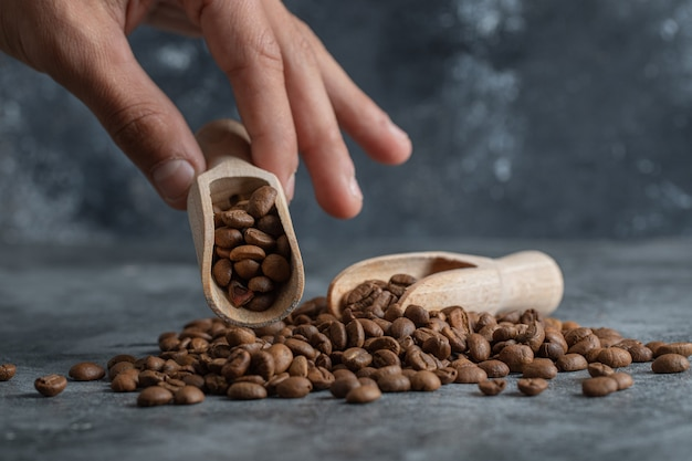 Hand holding a wooden spoon with coffee beans.