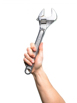 Hand holding Wrench over isolated white background