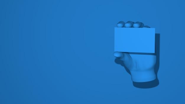 手は空白カードのモックアップを保持しています。イラストジェスチャーは警告を表示します。スタイリッシュな最小限の抽象的な水平シーン、テキストのための場所。トレンディなクラシックブルーのカラー。 3dレンダリング