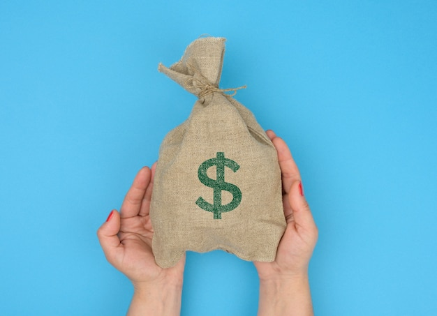 Hand holds a canvas bag full of money with a us dollar icon on a blue background. budget planning concept, profit and savings, final financial result