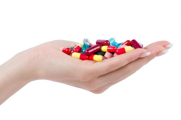 손 흰색 절연 알 약을 보유 하
