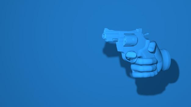 Hand holds revolver gun illustration 3d rendering