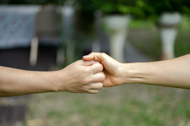 Hand holds together in the community in the garden / park.