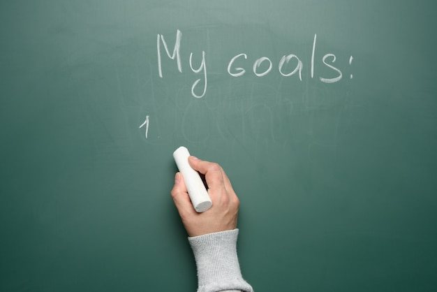 Hand holds a white piece of chalk on the background of a chalk board with the inscription my goal, copy space