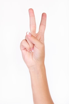 Hand indicating number two with fingers