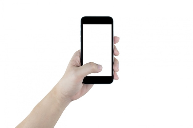 Hand is holding black smartphone, isolated. clipping path embedded.