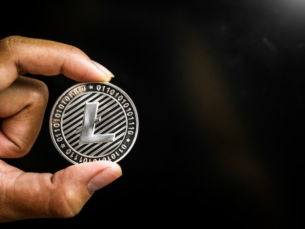 Hand is holding silver litecoin.