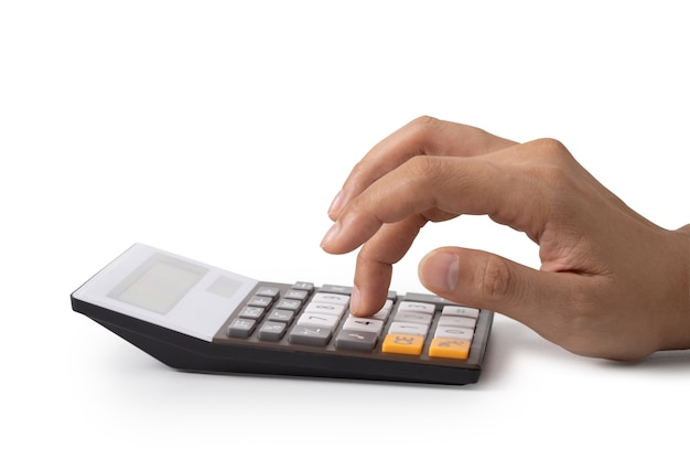 Hand is pressing the calculator, concept for saving money, growing business and wealthy