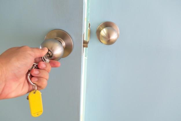 The hand is unlocking door