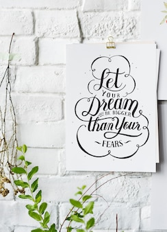 Hand lettering poster on the white wall