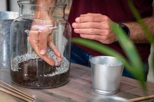 Сделанный своими руками террариум с зелеными растениями