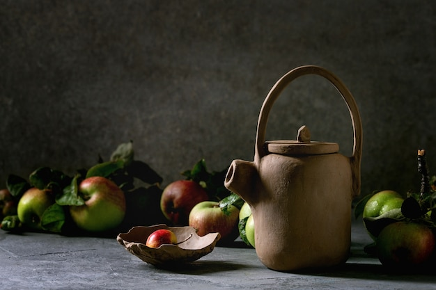 Hand made clay teapot
