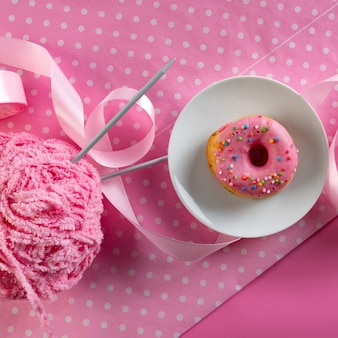 Hand made, pink background, pink donut