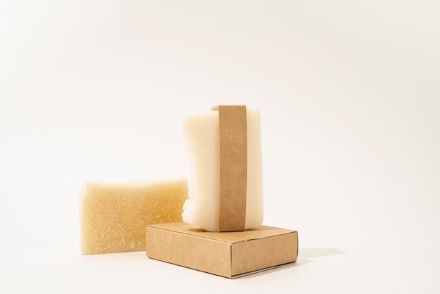 Hand made soap and craft band for mock up design on white background, front view