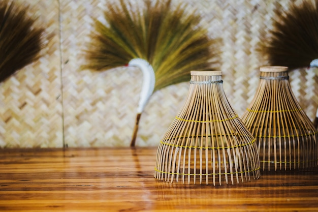 Hand made thai local fish trap made from bamboo