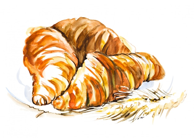 Hand made three watercolor croissants on a plate,