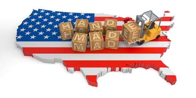 손으로 만든 미국 국기 지도의 나무 블록 텍스트입니다. 3d 렌더링