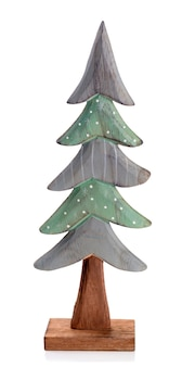 Hand made wooden fir tree, isolated on white