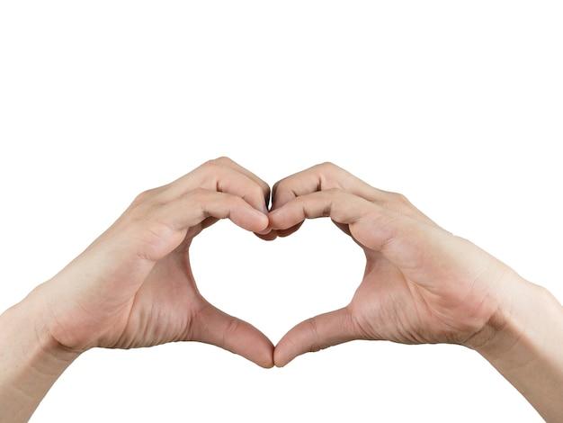 Рука сделать сердце изолированный белый фон