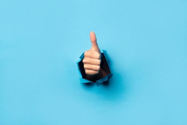 Рука делает большой палец вверх жест на синем