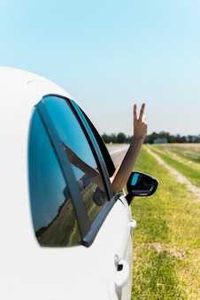 車の窓から平和サインを作る手