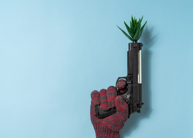 Hand a man hold a gun with a artificial plant on blue background. copy space.