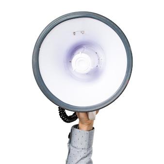 Mano dell'uomo tenendo gridare dal megafono