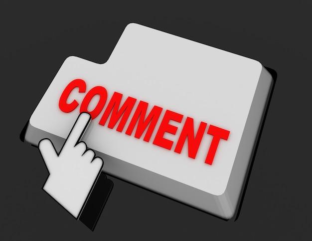 Курсор мыши в виде руки щелкает по кнопке комментария. 3d визуализированная иллюстрация