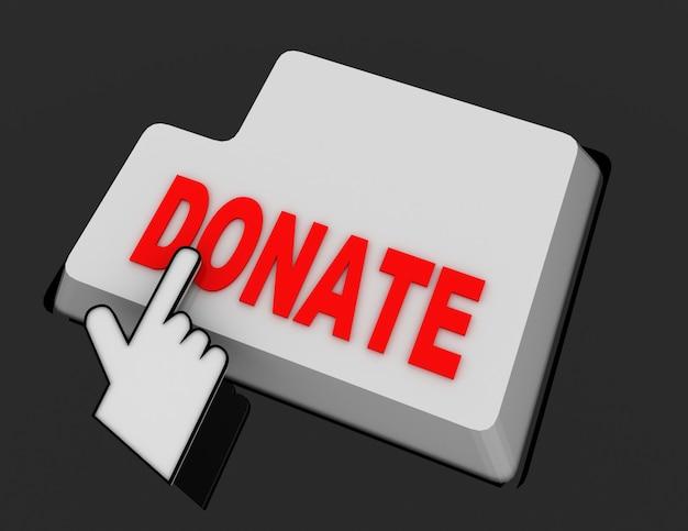 Курсор мыши в виде руки щелкает по кнопке пожертвования. 3d визуализированная иллюстрация