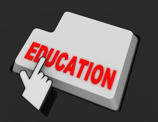 Курсор мыши в виде руки щелкает по кнопке образования. 3d визуализированная иллюстрация