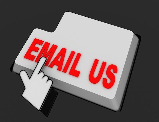 Курсор в виде руки нажимает кнопку «отправить нам письмо». 3d визуализированная иллюстрация