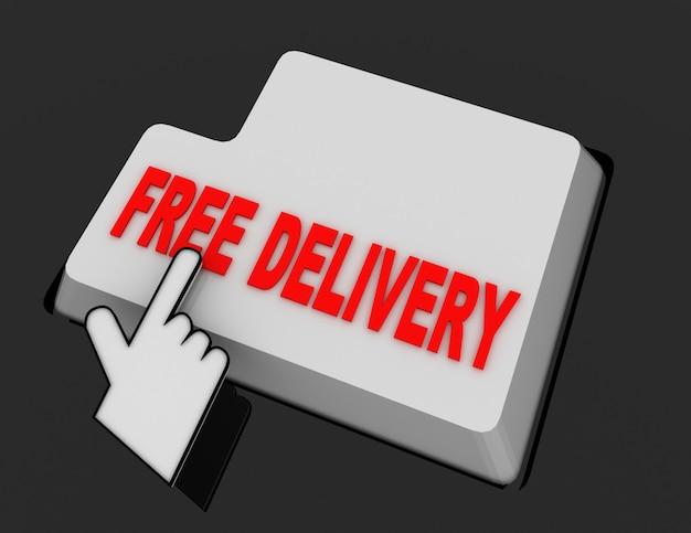 Курсор мыши в виде руки щелкает по кнопке бесплатной доставки. 3d визуализированная иллюстрация