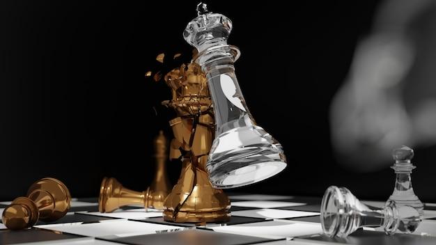 Рука бизнесмена движущаяся шахматная фигура в соревновании